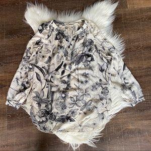 [Rebecca Taylor] Long Sleeve Floral Silk Blouse